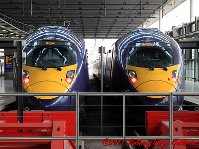 395018 and an unidentified sister unit sit at St. Pancras International on the 9th February 2011 - RIGalleries