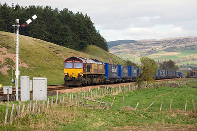 The '16th April's Stobart Express again this time at Blackford after leap frogging it while it sat in Perth. - Peter Kellet
