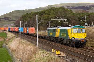 A pair of Freightliner 86's head a Coatbridge-Basford Hall working at Wandel just north of Abington on 7th April 2011. - Peter Kellet