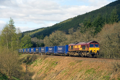 The Inverness-Mossend 'Stobart Express' north of Dunkeld on 16th April 2011. - Peter Kellet