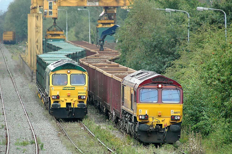 Calvert, Buckinghamshire. Freightliner 66529 4M60 Bristol - Calvert 'Binliner' & EWS 66077 6M35 Kings Cross to Calvert spoil bogie boxes. Nikon D70 400mm. 16th August 2004. Image supplied by Chris Nevard