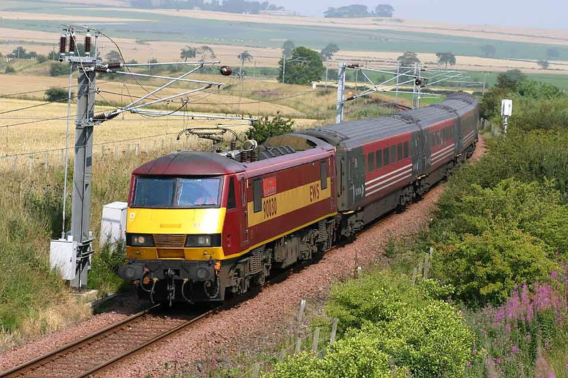 90030 on the North Berwick branch returning to Edinburgh, 2nd August 2004. Image supplied by Peter Kellett