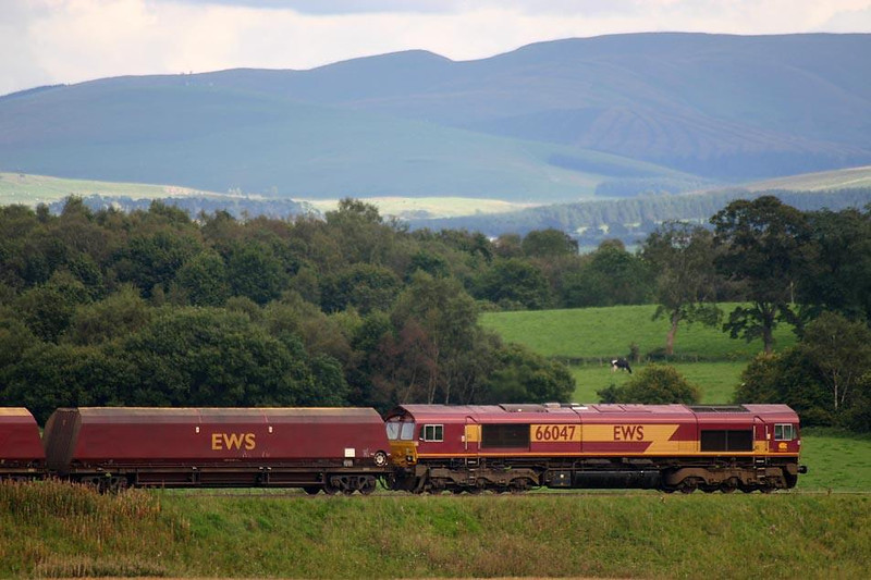 66047 waits to be given the all clear to reverse under the loading hopper at Ravenstruther. 25th August 2004. Image supplied by Peter Kellett