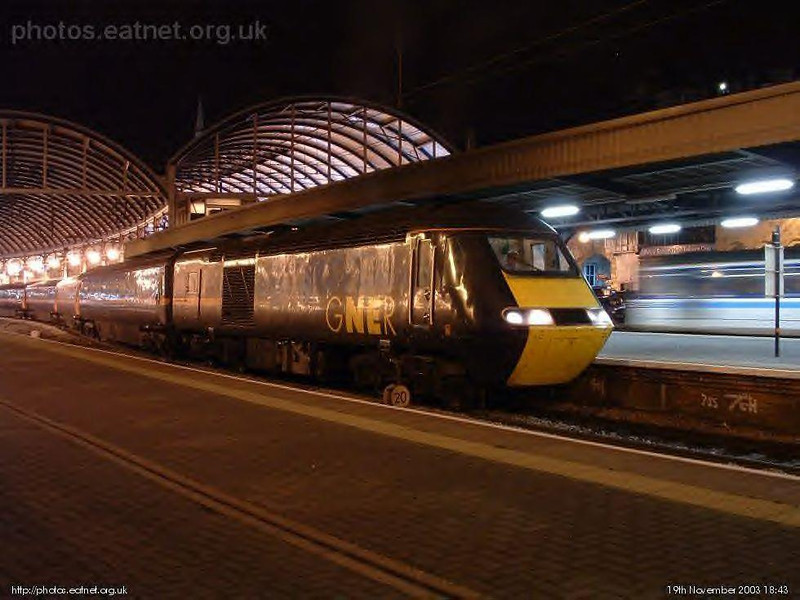 A GNER HST sits at Newcastle one evening in November 2003. Image supplied by esc37428