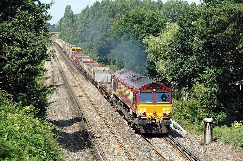 66216, 7Y39 Hoo Junction-Eastleigh yd Departmental near Lyne. 20 July 2004. Image supplied by nevardmedia