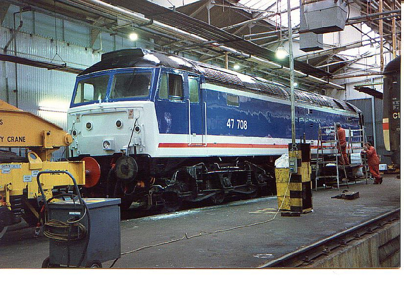 OK lads, where's this Class 47 being re-painted. Image supplied by brians24v