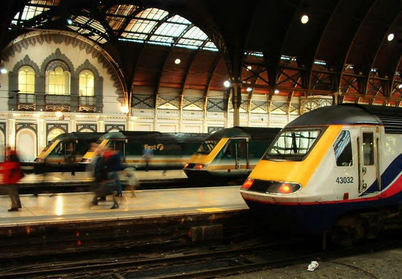 Four HSTs stand at London Paddington. Image supplied by esc37428