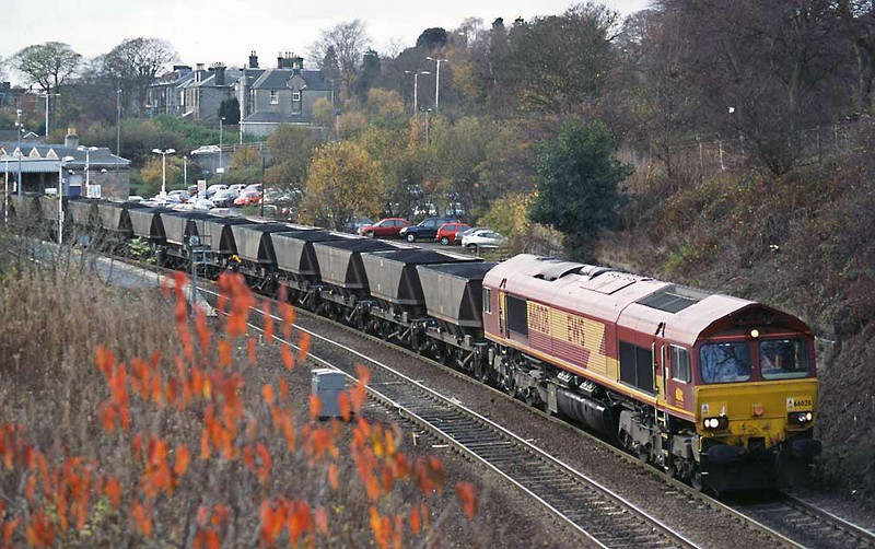 66028 takes its loaded MGR set through Dunfermline Town station on its way to the loops at Halbeath.  Image supplied by Peter Kellett.