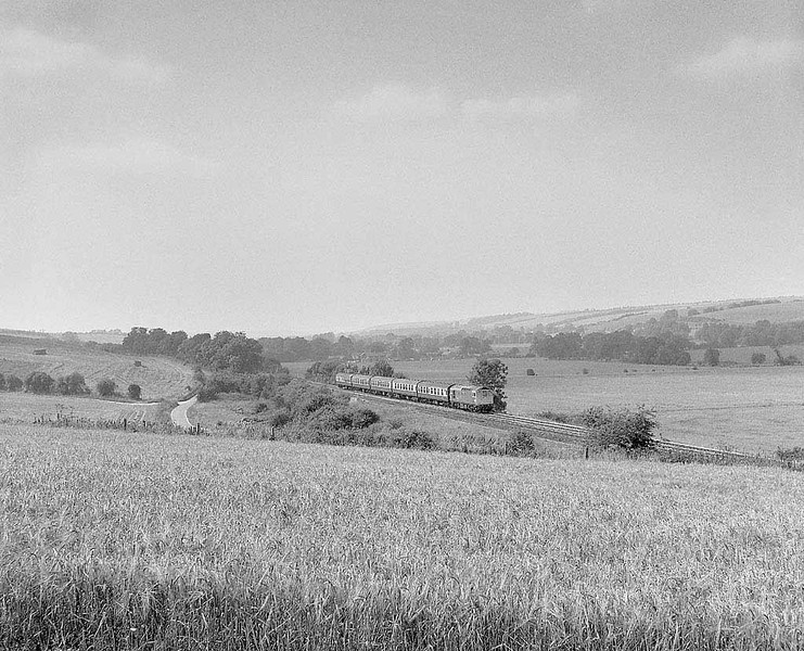 33x near Little Langford on the former GWR Wylye Valley Salisbury to Westbury line.  August 1984.  Rolleicord Va Tri-X.  Image supplied by Chris Nevard.