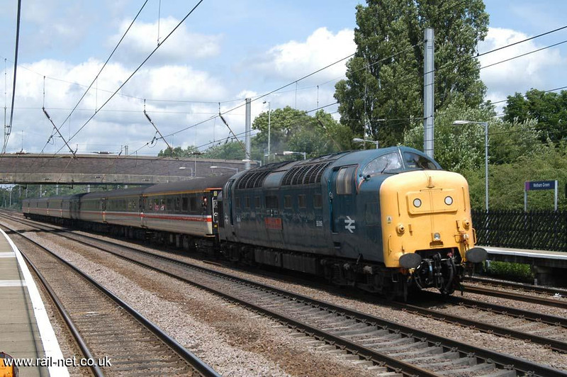 55019 thrashes it's way south through Welham Green.  Image supplied by Marcus Dawson.