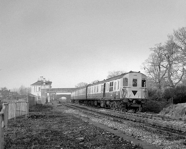 'Thumper' 1126 depart Netley (Soton-Fareham linet), late autumn 1983.  Rolleicord HP5.  Image supplied by Chris Nevard.