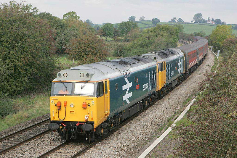 50049 & 50031 work 5Z66 Toton Up Yard-Old Oak Common ECS this morning at a gloomy Holmes House Farm, Bishops Itchington.  Image supplied by Scott Borthwick.