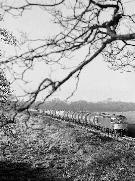 Class 33xx on an eastbound oil train between Sholing and Netley. Early spring 1983.  Image supplied by Chris Nevard.