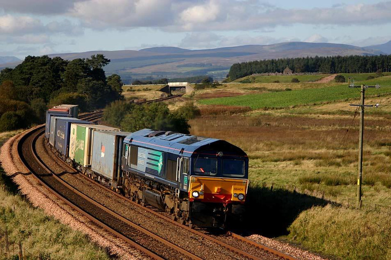 Northbound at Bardrill Road, 66404 heads 4A11 Grangemouth-Aberdeen at midday today. Image supplied by Peter Kellett.