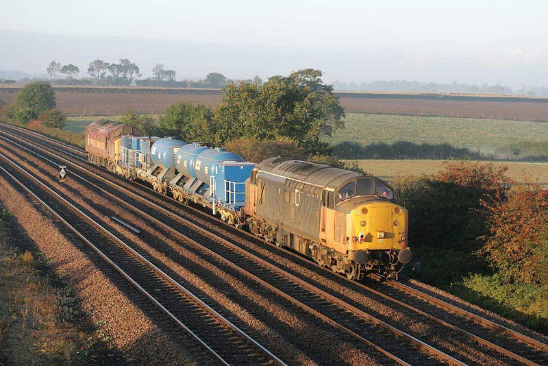 37516 leads 37503 in the early morning autumnal sunshine at Bolton Percy (south of York) this morning whilst working 6T82 0638 Knaresborough-York water cannon.  Image supplied by Scott Borthwick.