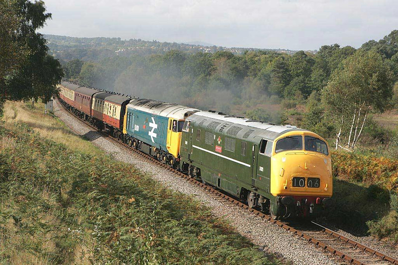 D821 leads 50031 approaching Foley Park tunnel on 01/10/2004, the first day of the Severn Valley Railways Autumn Diesel Gala.  Image supplied by Scott Borthwick.