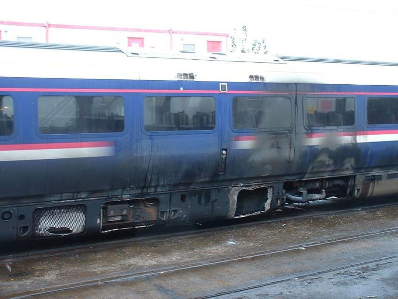 175008 suffered a bad engine fire Sunday night on the approaches to Preston.  Image supplied by Mark Bearton.