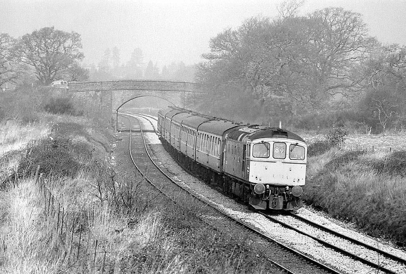 A Class 33, Sultan (I think?) on a Bristol to Portmouth train nearing Netley on the St Denys to Fareham line.  Early spring 1983. Image supplied by Chris Nevard.