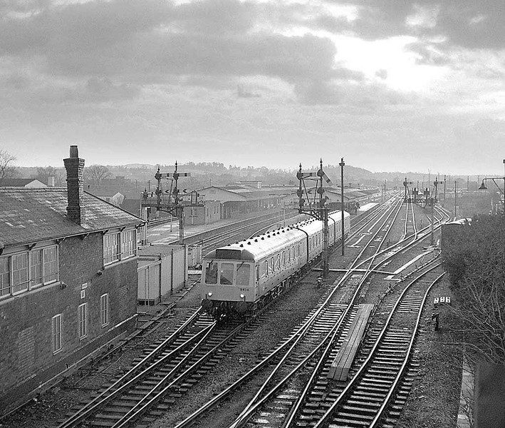 Class 121 B434, Westbury during a winter shower.  Train, signalbox & signals long gone.  Late 1983 Rolleicord Tri-x.  Image supplied by Chris Nevard.
