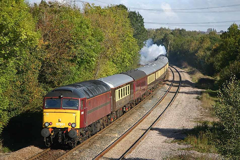 57601 brings up the rear of Saturday's Leicester-York excursion at Killamarsh, 9th October 2004.  Image supplied by Peter Kellett.