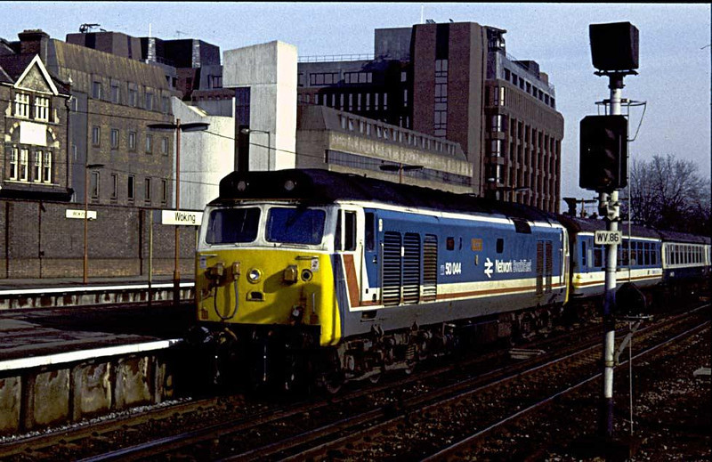 Woking way back in 1987, 50044 Exeter enters the station with 1V11 11:10 Waterloo-Exeter, 7th February.  Image supplied by Peter Kellett.