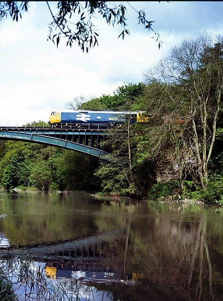 50031 crossing the still River Severn during the SVR Diesel Gala May 1992. Image supplied by Peter Kellett