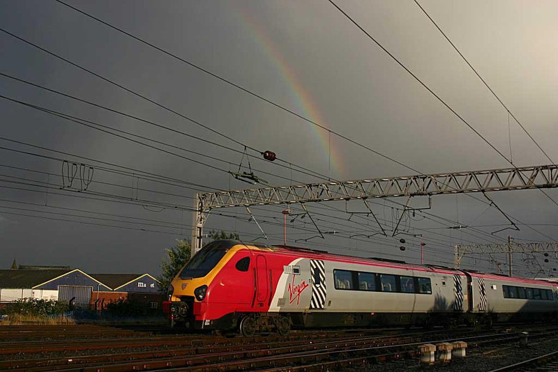 Somewhere under the rainbow.... Virgin Voyager departing Carlisle earlier this evening (18th September). Image supplied by Ewan Tait.