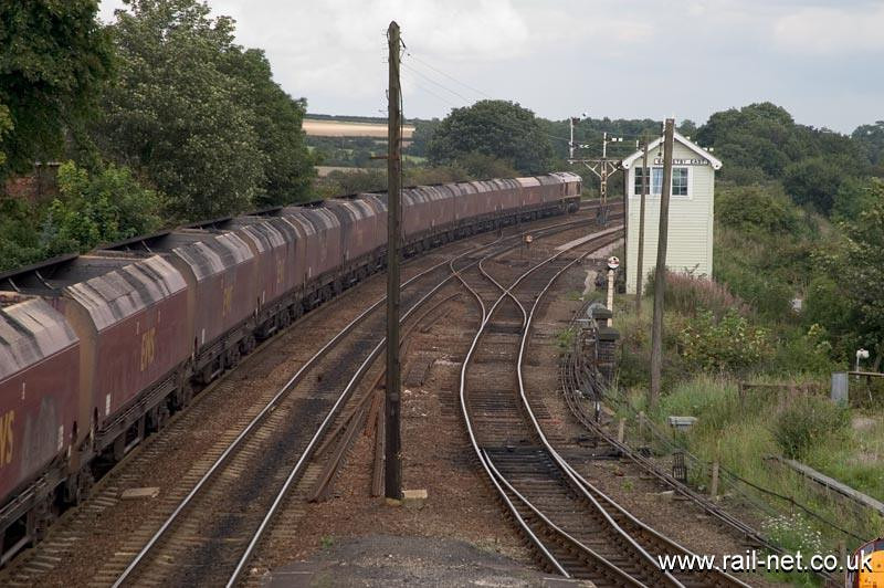 66032 departs Barnetby with a coal working towards the Humber. Image supplied by Marcus Dawson.