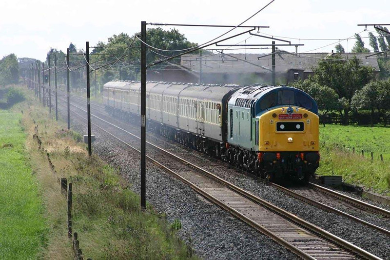 40145 heading north out of Preston on it's ill-fated tour.... Image supplied by Mark Bearton.