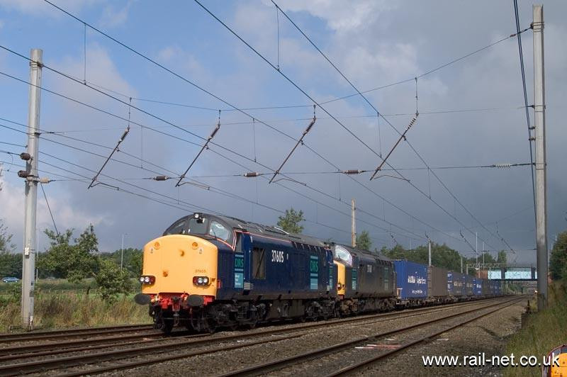 DRS 37605 and 611 head up the 4M44 Coatbridge to Daventry Malcolms intermodal working south near Euxton. Image supplied by Marcus Dawson.