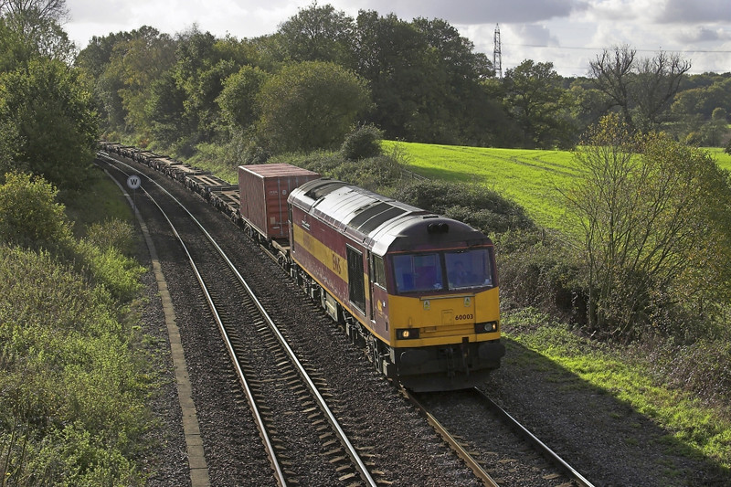 11/11/05: Silchester. 60003, 6V38, 11:03 Marchwood - Didcot Yard MOD Stores. The tug was a bonus!
