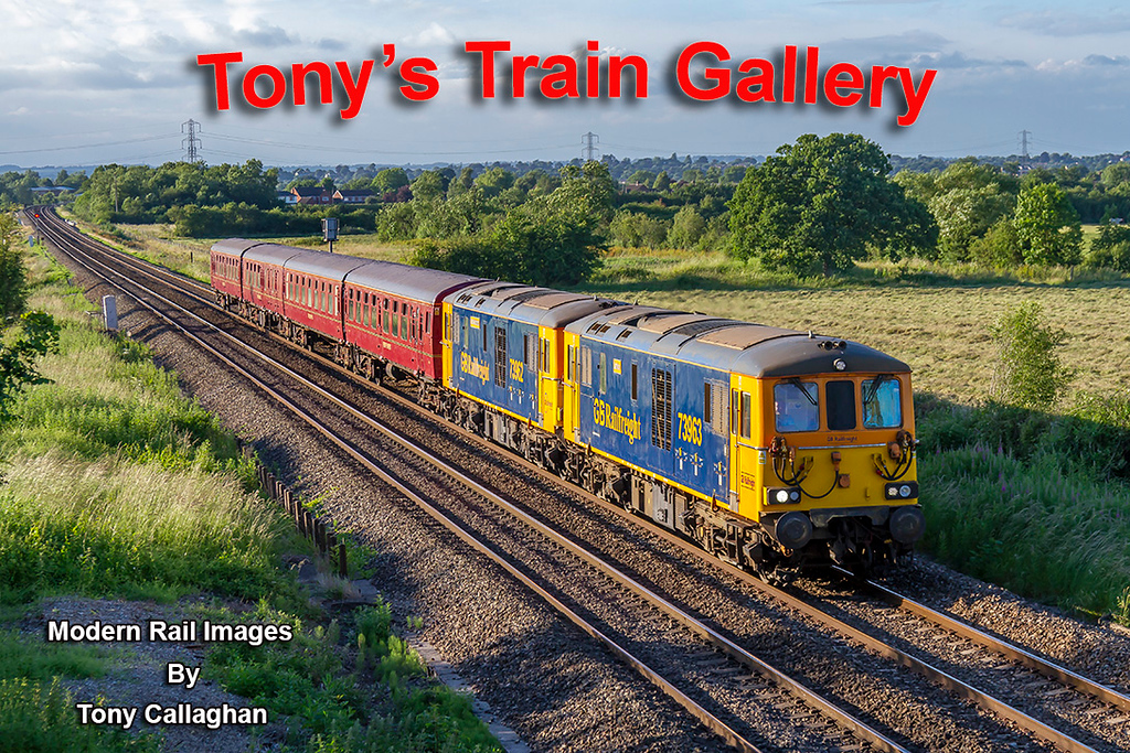 20th Jun 2018:  The GBRf charter from Paddington to Long Marston using the TC set and Top 'n Tailed 739s 73963 & 73962 was fine in the morning.  However 73962 failed just after it started the return and eventually the set was worrked to Eastleigh as 5Z74 with 73963 leading.  It is pictured here as it runs through Heywood near Hawkeridge Junction at Westbury