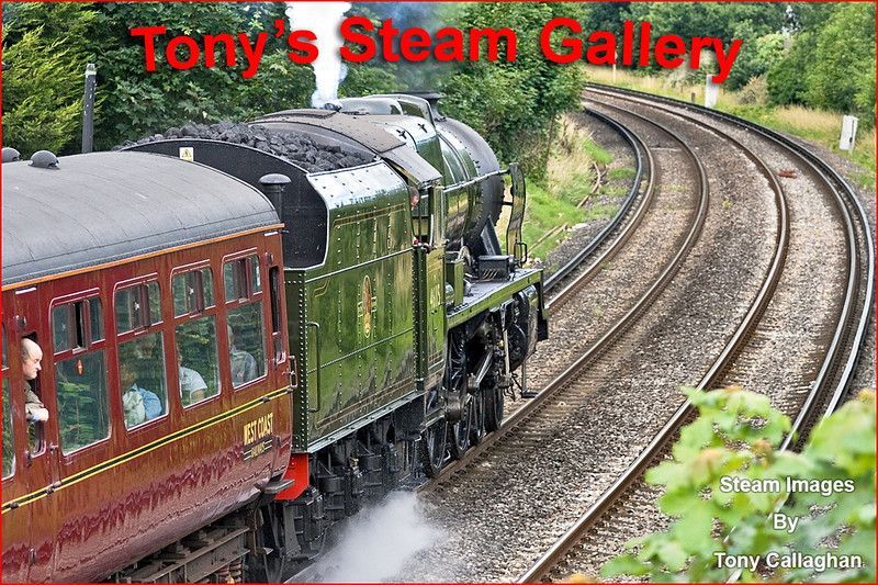 """The """"Dorset Coast Express"""" with 46115 'Scots Guardsman' taking the strain is making her first foray onto South Western matals. Captured here going well through Pooley Green in Staines"""