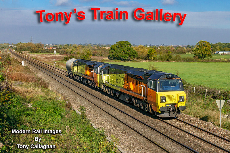 20th Oct 2018:  An afternoon  cement train to  to Westbury from South Wales on a Saturday is very unusual.  To be double headed is also very unusual and for it to be a single PCA load is also unheard of..  Today 6Z75 the 11.55 fron Severn Tunnel Junction Sidings combined all three of these  actions.  70816 & 70804 and the singe PCA are pictured nearly at the end of their Journey as they run toward Hawkeridge Junction