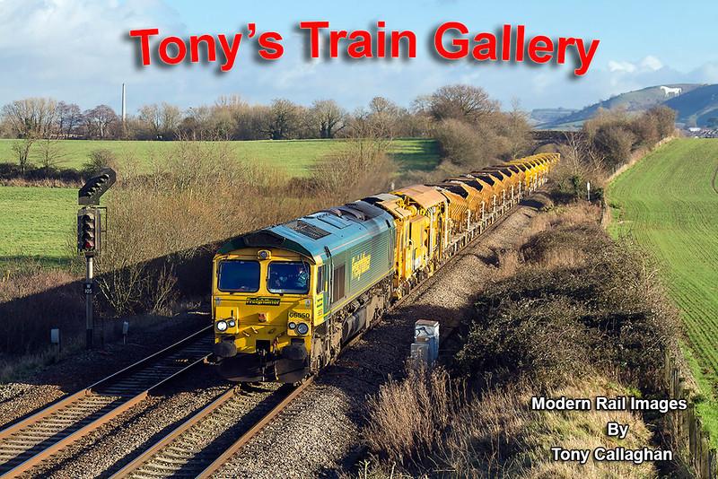 9th Jan 14:  66550 works west through Fairwood with 6C73 from Westbury to Fairwater Yard in Taunton