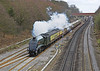 1st Apr 06: 60009 Union of South Africa  approaches Twyford with the Orient Express Pullmans bound for Oxford