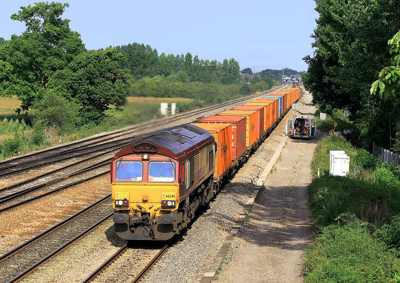 8th Aug 06:  66248, 4O53 Wakefield Europort to Southampton Intermodal leaving Didcot