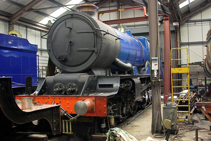 17th Jul 06:  6023 in the GWS workshop .  Although looking nearly complete the boiler work has yet to start