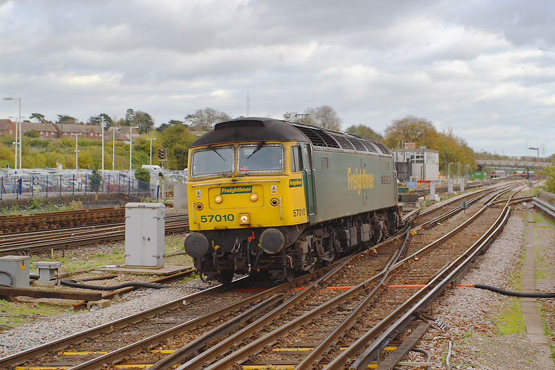 31st Oct 06: With most of the train hidden behind the loco 57010 gains the Main Line with 4O51 Cardiff Wentloog to Southampton