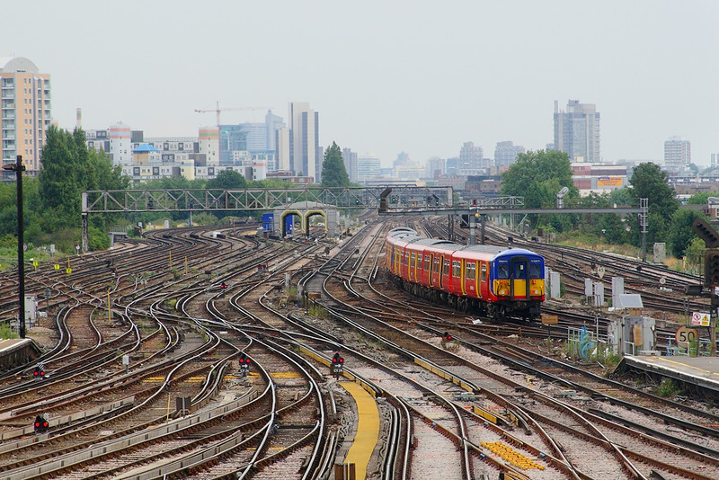 16th Aug 06:  455740  from Shepperton leaves for Waterloo.  I waited 15 minutes to get a picture with empty tracks.