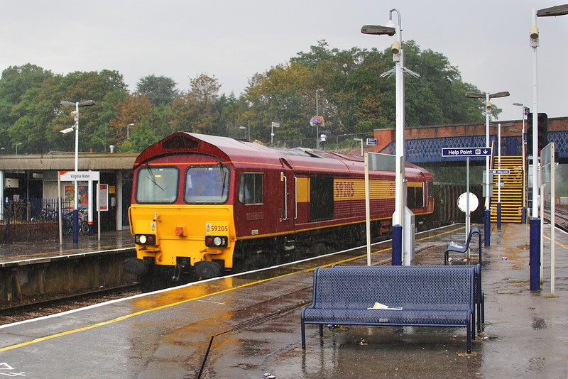 16th Aug 06:  59205 Splashes through Virginia Water with empties from Sevington to Merehead
