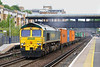 16th Aug 06:  66543 storms through Olympia with 4E24 Thamesport (Grain) to Leeds Freightliner