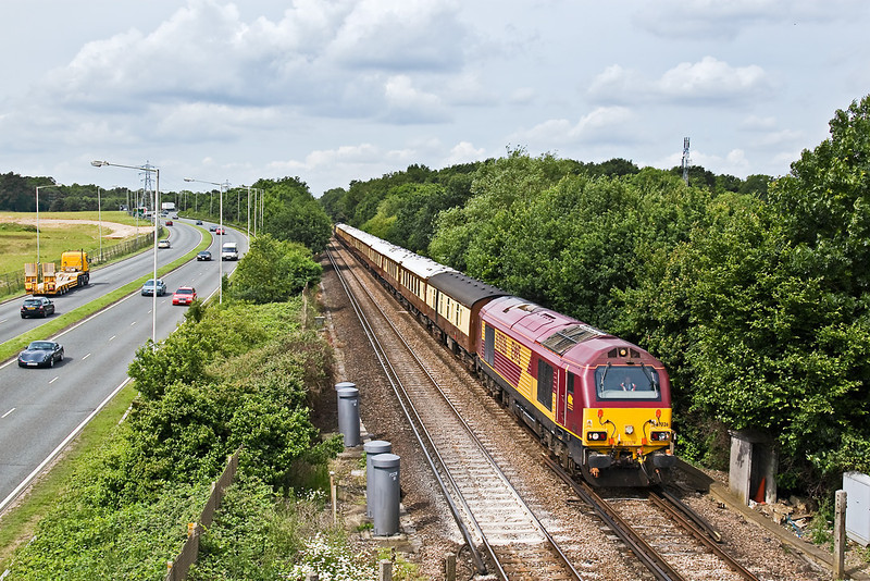 17th Jun 08:  Now 67026 leads as the VSOE passes the site of the old level crossing at Amen Corner to the west of Bracknell