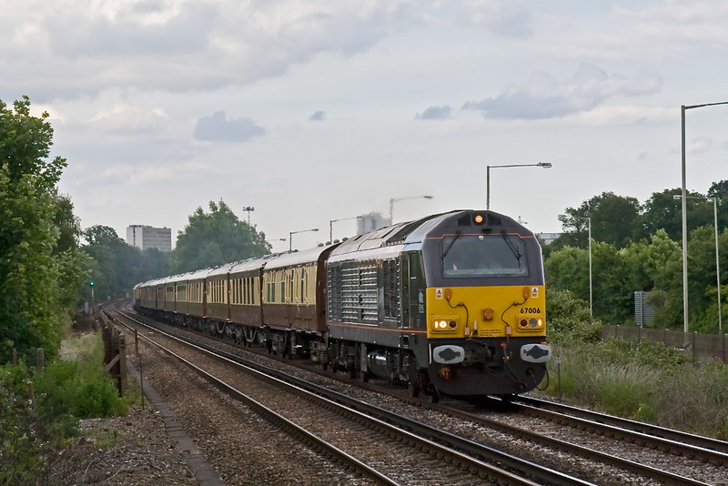 17th Jun 08:  The VSOE makes an early return to Victoria. Here seen passing Amen Corner in Bracknell