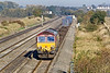 9th Oct 08: 66124 brings the 04.33 Wakefield Europort to Southampton up the relief