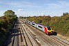 9th Oct 08: 4M58 to Ditton with 66542 approaches the occupation bridge in the middle of the cutting