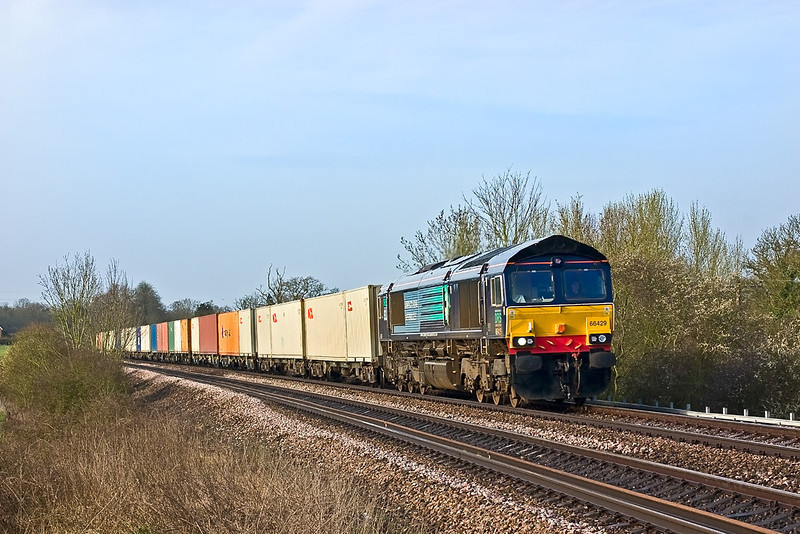 1st Apr 08:  On hire to Freightliner DRS  66429 heads north on the 07.25,  4M50 Southampton to Basford Hall liner, Seen here as it powers up the grade away from Mortimer