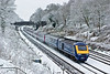"6th Apr 08: ""Sonning Snow""  The overnight covering had not started to melt as 43147 accelerated towards London"