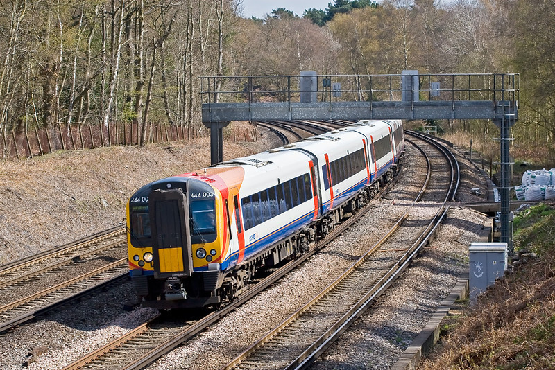 15th Apr 08:  A Weymouth fast in the hands of 444003 at Pirbright