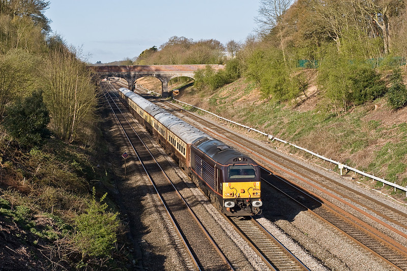 12th Apr 08:  The 'Golden Arrow' from Taunton to Folkstone thunders through Ruscombe powered by Royal skip 67006.  Tangmere was to take over at Willesdenb